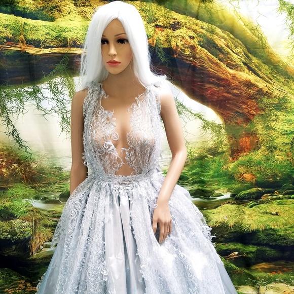 Sebrina Love / Sebrina Love Bridals Dresses & Skirts - RAJATA Silver & Lace Lame' Wedding Ballgown Set